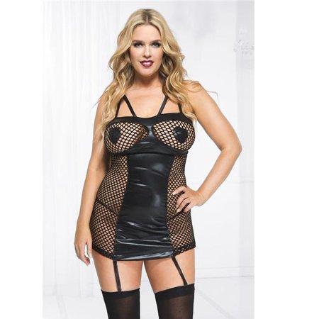 Music Legs 20024Q-3X-4X Plus Size Fishnet Wet Look Garter Mini Dress, 3X &  4X