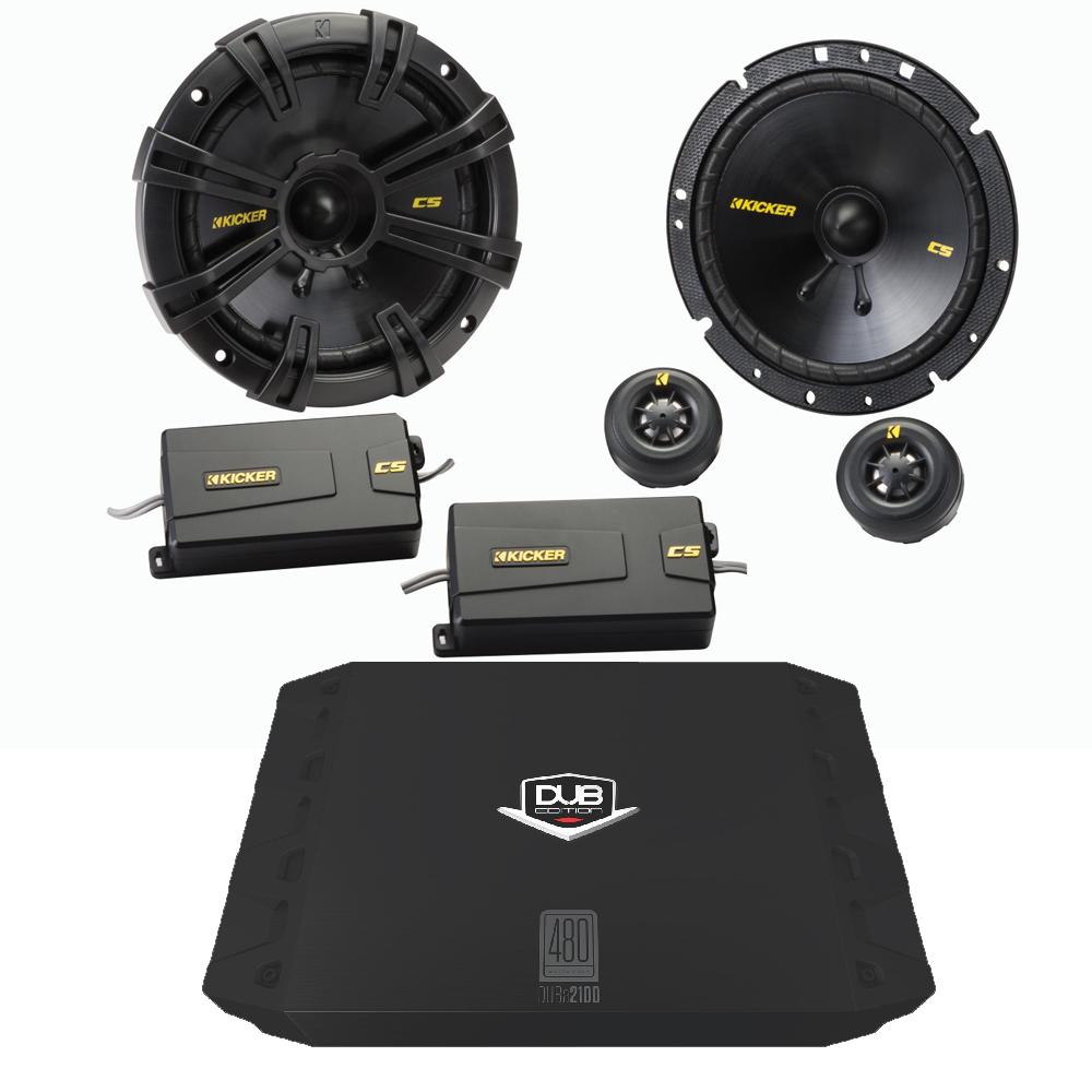 "Kicker 40CSS674 6.75"" Component Set with 200 watt DUB 2 Channel Amplifier"