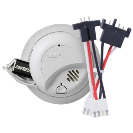 First Alert SA9120BPCN Hardwired 120-Volt AC Smoke Alarm with Adapter Plugs