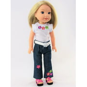 Flower Power Shirt and Jeans-Fits 14 Inch Wellie Wisher Dolls | 14 Inch Doll Clothing
