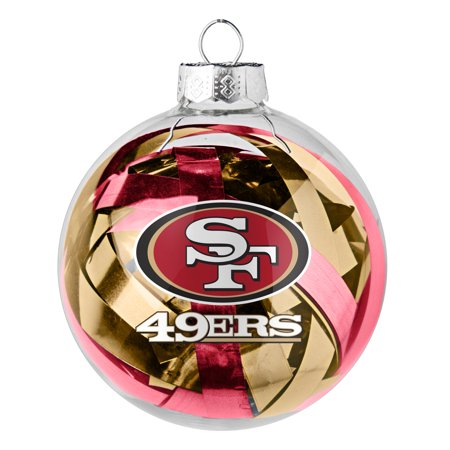49ers Christmas Ornaments (San Francisco 49ers Large Tinsel Ball Ornament - No)