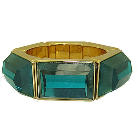 Genuine Coldwater Creek Lucite Bangle Stretch Bracelets, Teal & Gold