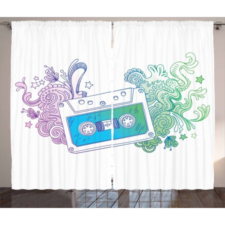 Doodle Curtains 2 Panels Set, Audio Cassette Tape with Line Art Floral Musical Old Fashion Melody Print, Window Drapes for Living Room Bedroom, 108W X 90L Inches, Blue Mint Purple, by Ambesonne
