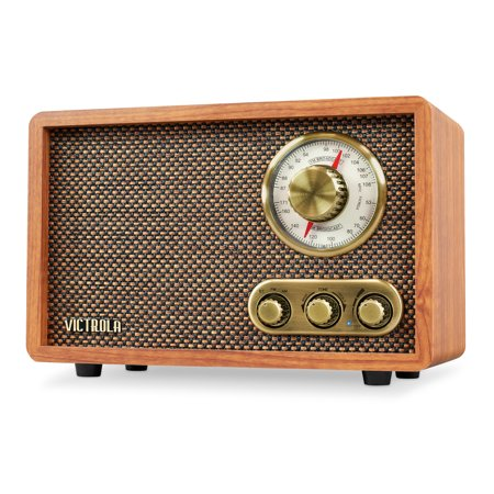 Victrola Retro Wood BT FM/AM Radio with Rotary Dial Am Wood Cabinet Radio