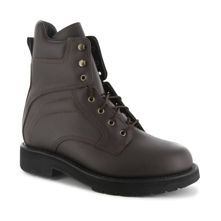 Abram Boot Men's Boss 8'' Work Boots Brown Leather Rubber 9.5 (5E)
