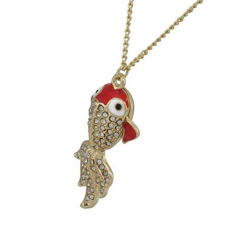 Rhinestone Encrusted Goldfish Necklace Koi - image 2 de 4