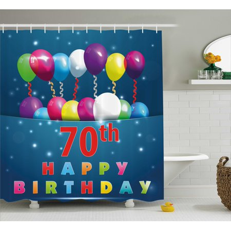 70th Birthday Decorations Shower Curtain, Colorful Balloons on Dark Blue Backdrop Party Items Art Print, Fabric Bathroom Set with Hooks, 69W X 70L Inches, Multicolor, by Ambesonne - Party Items
