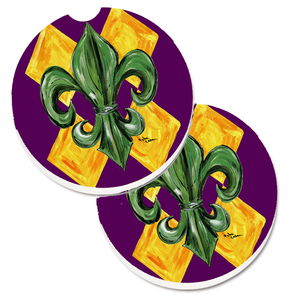 Mardi Gras Fleur de lis Purple Green and Gold Set of 2 Cup Holder Car Coasters 8133CARC