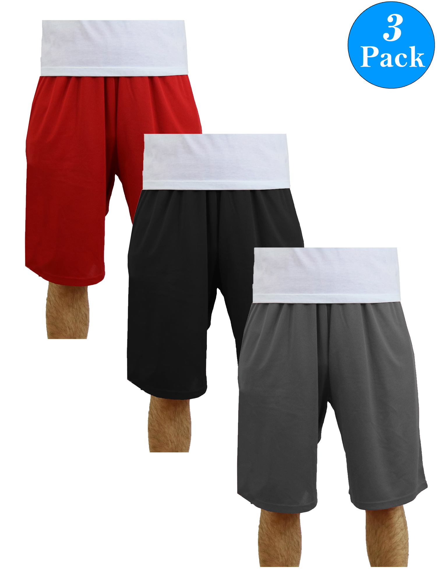 Men's Moisture Wicking Active Mesh Shorts (3-Pack)