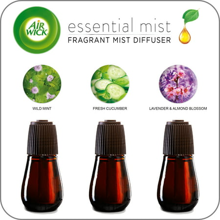(Variety 3 pack) Air Wick Essential Mist Fragrance Oil Diffuser Refill, Lavender & Almond Blossom, Fresh Cucumber, and Wild Mint ()