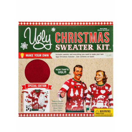 Mens Red Ugly Christmas Sweater Kit Decorate It Your Way Snowman Santa Reindeer](Red Ugly Christmas Sweater)