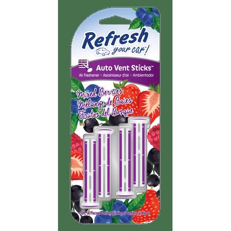 Refresh Your Car! Air Freshener, Mixed Berries, 4 Pack