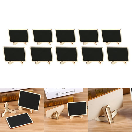 WALFRONT 10PCS Memo Board Wooden Mini Blackboard Chalkboard Message Note Board With Stand Holder Clip Note Board, Wordpad., Memo Board](Cheap Chalkboards)