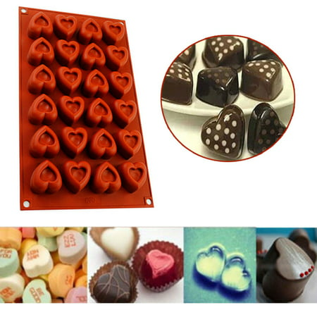 Ice Bakeware (iClover 24-Cavity Heart-Shape Silicone Baking Mold Pan, Bakeware for Chocolate,Ice Cubes,Soap, Cupcake, Cheesecake,Jell-O, Muffin, Brownie,Party Valentine's Day Gift)