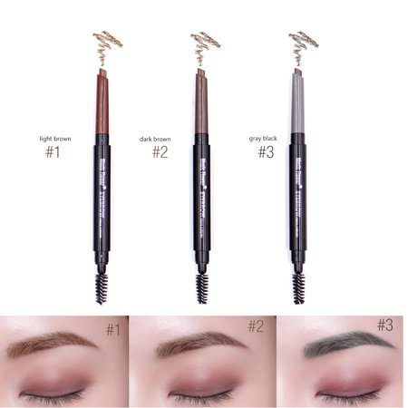 2Pcs Double-headed Waterproof Eye Brow Eyeliner Pen Long Lasting Makeup Cosmetic Light Brown - Makeup Light Brown Eyes