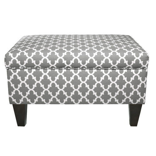 MJL Furniture Brooklyn Upholstered Square Legged Box Storage Ottoman