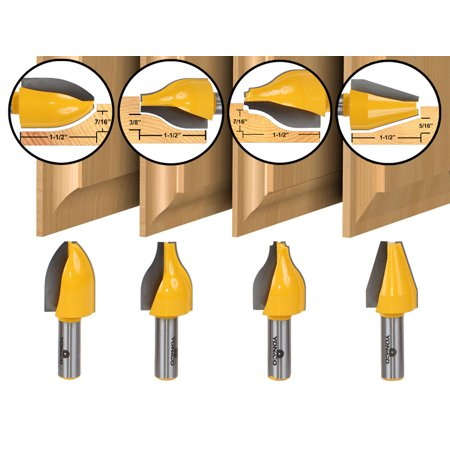 4 Bit Vertical Raised Panel Router Bit Set - 1/2