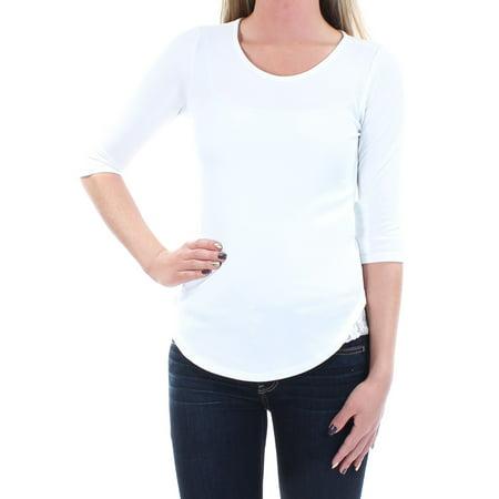 Ivory G-string - BAR III Womens Ivory 3/4 Sleeve Jewel Neck Top  Size: XS