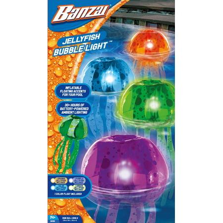 Banzai Jelly Fish Bubble Light 2pk Color Floating Aqua