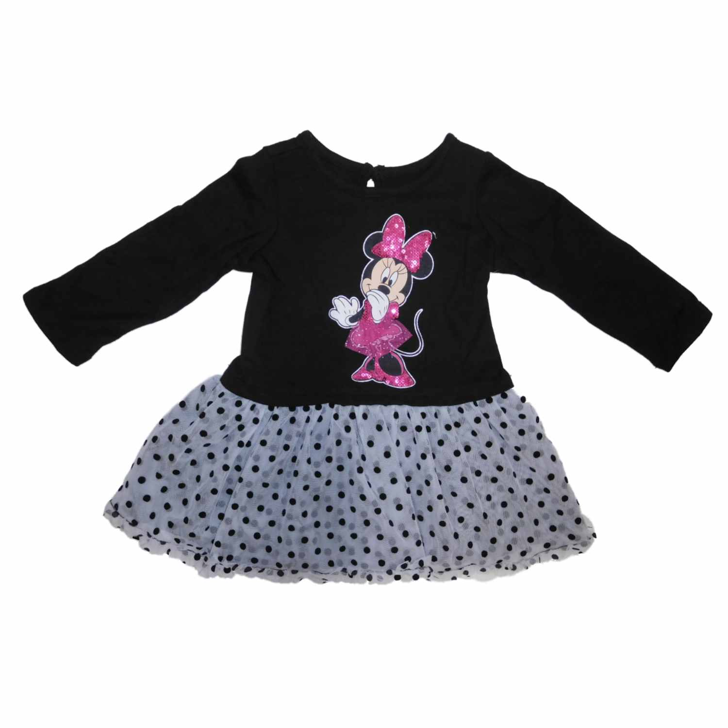 Disney Infant Girls Minnie Mouse Black Dot Long Sleeve Tulle Ruffle Dress