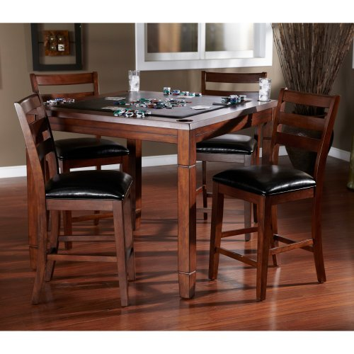 AHB Rosa 5 Piece Dining\/Game Table Set with Flip Top - Mocha