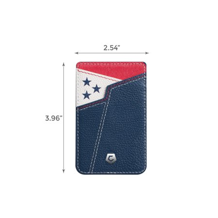 Cobble Pro Stick-On Genuine Leather Card Holder Adhesive Cell Phone Wallet for iPhone 11 / 11 Pro / 11 Pro Max XS X 8 7 6 6s Plus SE G6 G7 Samsung Galaxy S9 S9+ S8 S8+ S7 Note 8 J7 J3 Pittsburgh Black - image 5 de 6