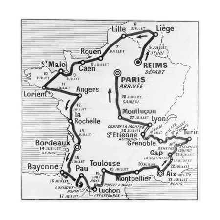 Tour De France Map - Map Showing Route of Tour De France Print Wall Art