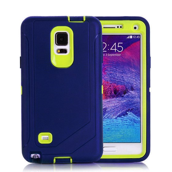sports shoes 3dac7 1ad84 For Samsung Galaxy Note 4 Defender Outer Case Protective Cover w/Clip Navy  Green