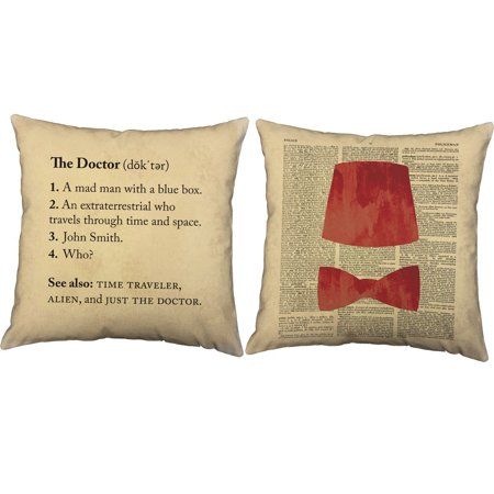 Set of 2 Definition of Doctor Throw Pillow Covers 16x16 Square Natural Cotton Fez and Bow Tie Shams, One pair of RoomCraft Just The Doctor.., By RoomCraft for $<!---->