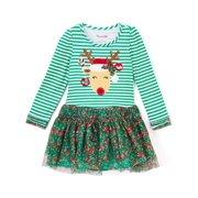 Christmas Baby Girls Dress Toddler Kids Striped Princess Deer Tulle Tutu Dresses