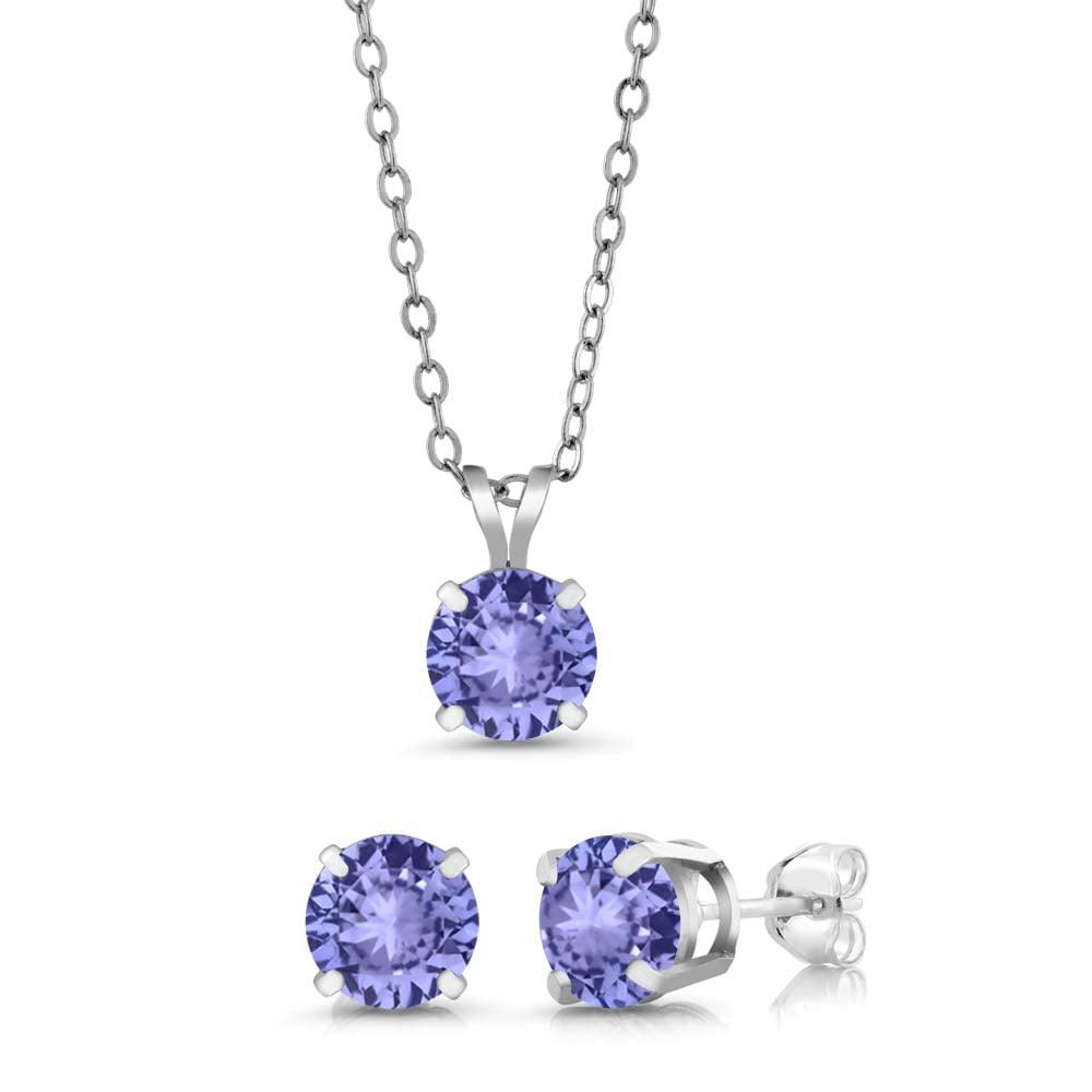 2.70 Ct 6mm Blue Tanzanite AAAA 925 Sterling Silver Stud Pendant Earrings Set by