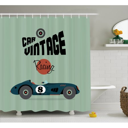 Cars shower curtain classical vintage car poster racing for Race car shower curtain