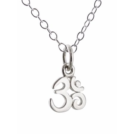 Sterling Silver Tiny Om Symbol Charm Ohm Pendant Necklace 18