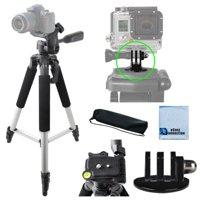 "57"" inch Pro Series Aluminum Tripod + Tripod Mount For All GoPro Hero Cameras + eCostConnection Microfiber Cloth"