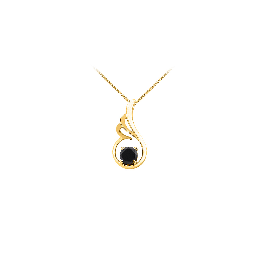 Conflict Free Black Diamond Pendant in 14K Yellow Gold with Free Chain Great Price Range - image 2 de 2