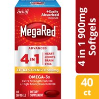Megared 4 in 1 Omega-3 Fish + Krill Oil Advanced 4 in 1 Softgels, 900 mg, 40 ct