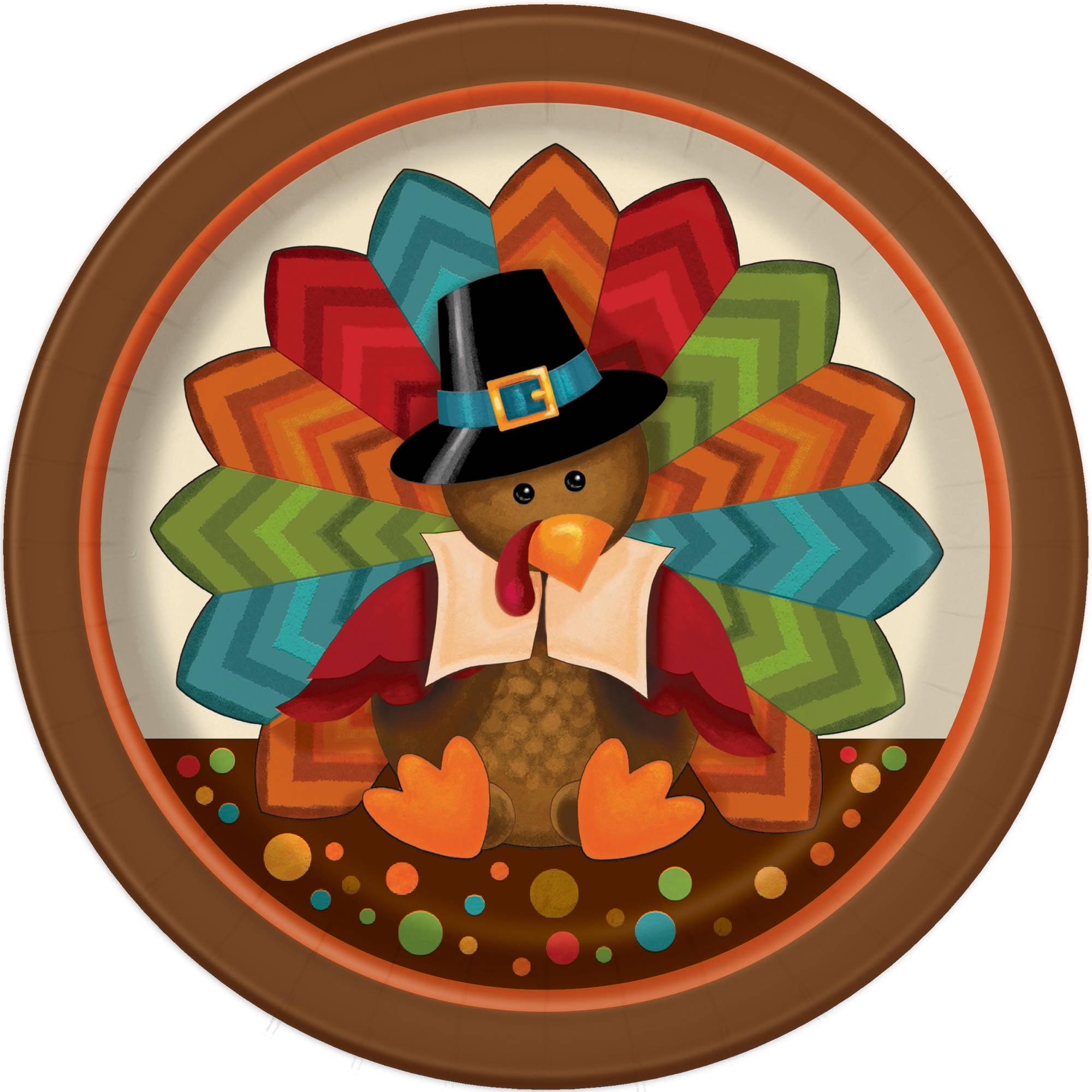 Cute Turkey Thanksgiving Paper Dessert Plates, 7 in, 8ct