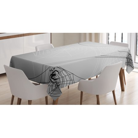 Spider Web Tablecloth, Spiders Hanging from Webs Halloween Inspired Design Dangerous Cartoon Icon, Rectangular Table Cover for Dining Room Kitchen, 60 X 84 Inches, Grey Black White, by - Designs For Halloween
