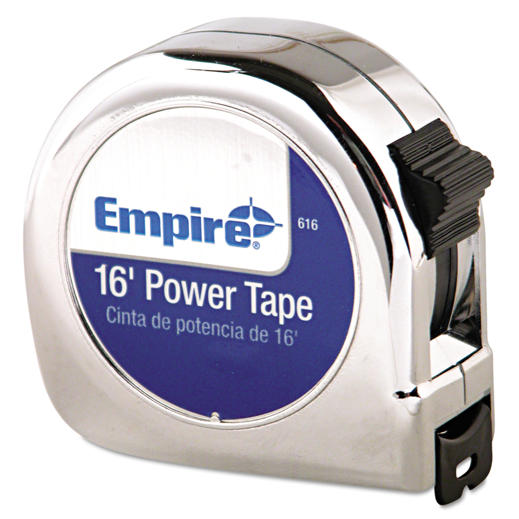"Empire Power Tape Measure, 3/4"" x 16ft, Metal Case, Chrome, 1/16"" Graduation"