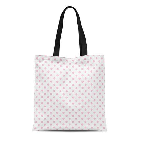 KDAGR Canvas Tote Bag Pink Polkadot Polka Dot Pattern Girly Teen Announcement Baby Durable Reusable Shopping Shoulder Grocery Bag