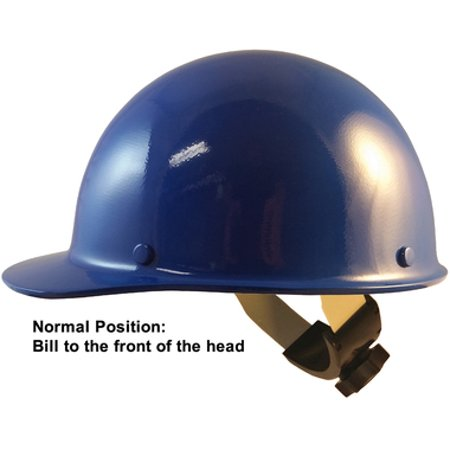 MSA Skull Guard Hard Hat - Fiberglass Cap Style With Swing Suspension -  Custom Blue Color