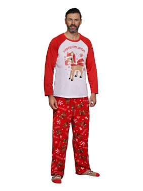 Rudolph The Red-Nosed Reindeer Matching Family 3-Piece Pajama Sets Red Nose Included, Men, Size: X-Large