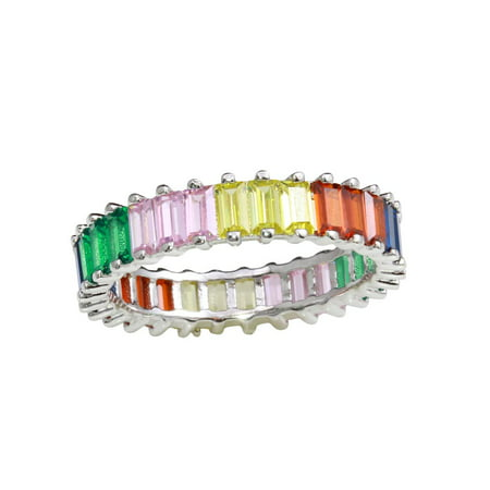 Multicolor Baguette Cubic Zirconia Eternity Ring Rhodium Plated Sterling Silver Size -