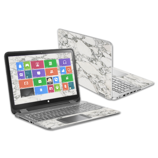 """MightySkins Protective Vinyl Skin Decal for HP Envy x360 15.6"""" (2014) wrap cover sticker skins White Marble"""