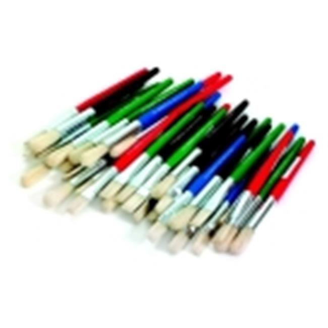 School Specialty Flat And Round Stubby White Bristle Paint Brush Set, Set 36
