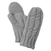 Isotoner Womens Chunky Gray Cable Knit Mittens with Sherpasoft Lining Grey