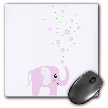 3dRose Cute pink elephant blowing flowers from trunk - girly kawaii kids nursery animal baby girl cartoon, Mouse Pad, 8 by 8 inches - Girls Trunk