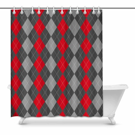 MKHERT Abstract Argyle Decor Classic Checked Gray Red Waterproof Shower Curtain Fabric Bathroom Set 60x72 Inch