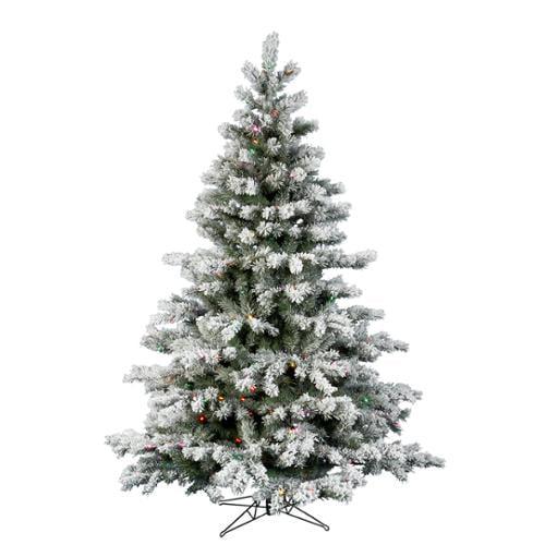 8.5' Pre-lit Flocked Aspen Artificial Christmas Tree - Mulit Color LED Lights