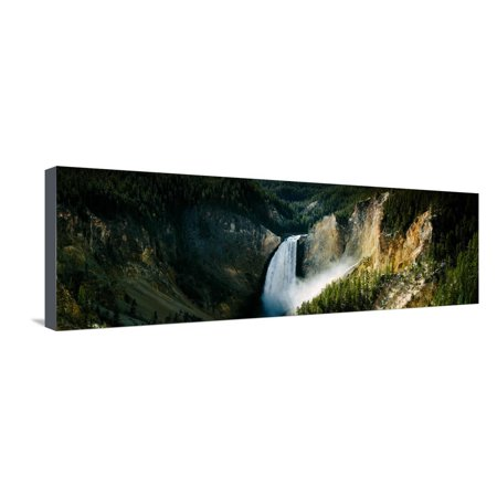 High Angle View of a Waterfall in a Forest, Lower Falls, Yellowstone River Stretched Canvas Print Wall Art By Panoramic Images